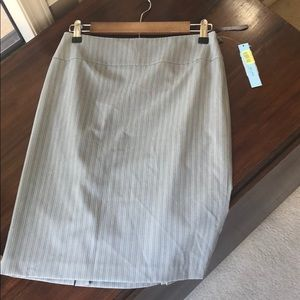 🌀NWT Antonio Melani Pencil Skirt Grey Pinstripes